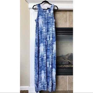 Karen Kane Sleeveless Blue Tie Dye Maxi Dress
